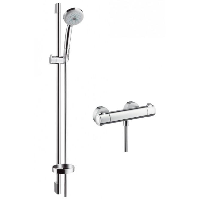 0,90m 3 tipos de chorro cromo Hansgrohe 27085000 Croma 100 Multi set de ducha con termostato