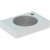Geberit Preciosa II - Handwaschbecken 400 x 280 mm mit Hahnloch rechts ohne Überlauf weiß