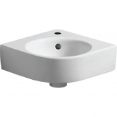 Geberit Renova Nr. 1 Comprimo - Eck-Handwaschbecken 320 mm mit Hahnloch mit Überlauf weiß KeraTect