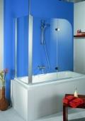 HSK - Sidewall to Bath screen, 01 aluminum matt silver custom-made, 56 Carré