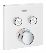 Grohe Grohtherm SmartControl - Thermostat eckig 2 Absperrventile moon white
