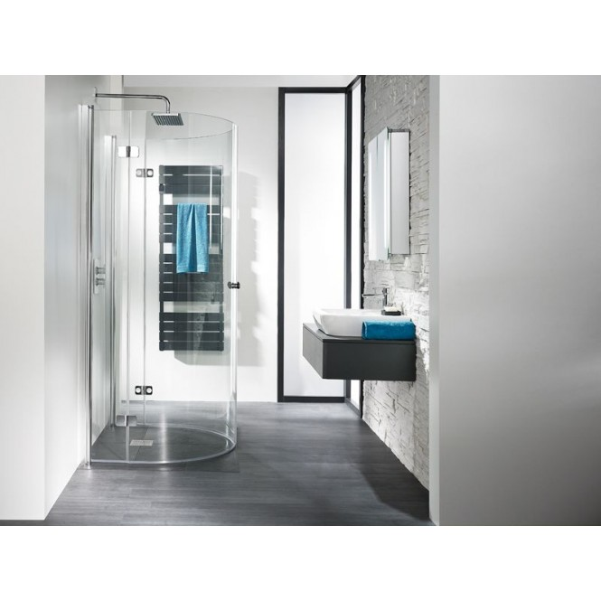 HSK - Circular shower EXCLUSIVE semicircle, folding hinged door 1100/900 x 2020 mm, chrome optic 41, 50 ESG clear bright