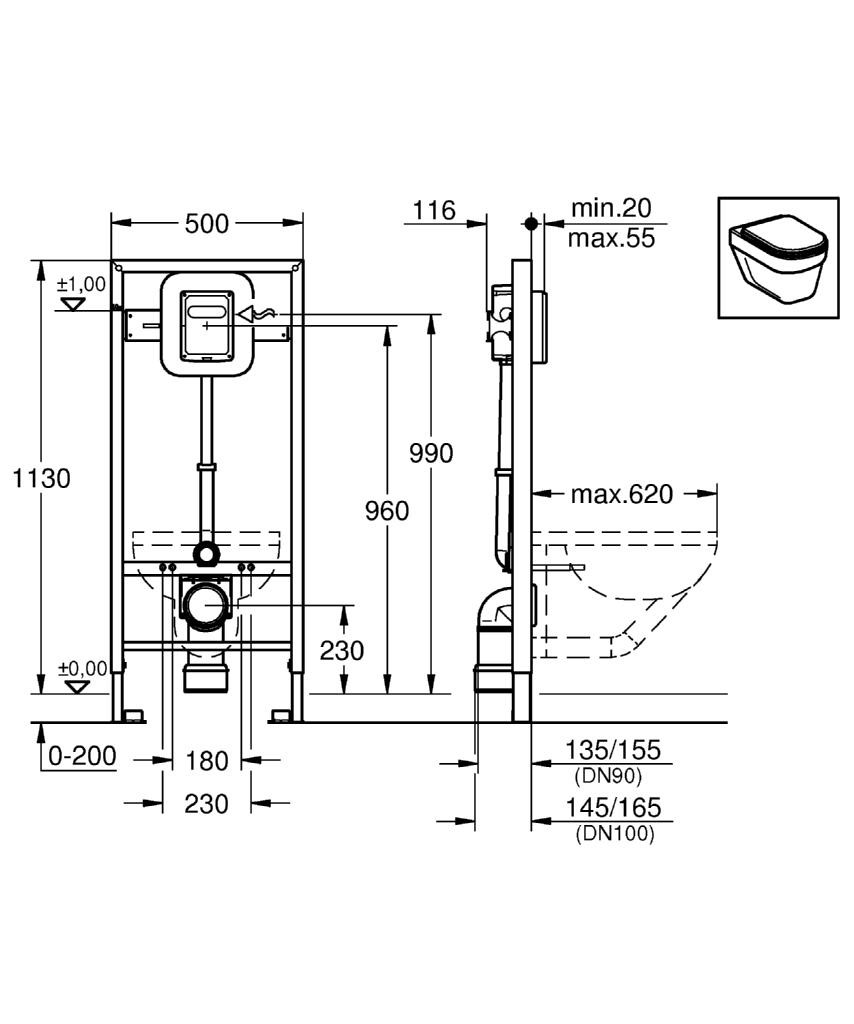 Altezza Placca Wc grohe rapid sl - for wall-mounted wc flush valves