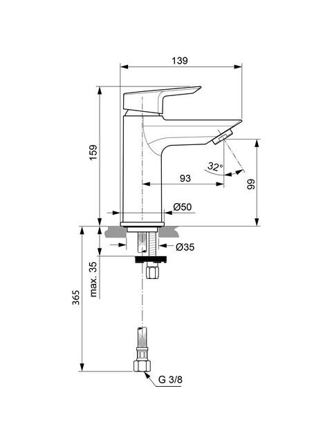 Ideal Standard Lavabo Tesi.Ideal Standard Tesi Miscelatore Monocomando Per Lavabo