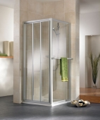HSK - Sliding door 3-piece, 50 ESG clear bright 900 x 1850 mm, 01 Alu silver matt