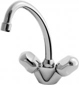 Ideal Standard Alpha - Batteria monoforo per lavabo Taglia M con beccuccio orientabile con scarico a saltarello cromo