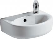 Ideal Standard Connect - Lavamani 350x260mm con 1 foro per rubinetto a destra con troppopieno bianco con IdealPlus