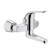GROHE Euroeco Special - Miscelatore monocomando per lavabo per montaggio a parete con sporgenza 214 mm senza scarico a saltarello cromo