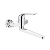 GROHE Euroeco Special - Miscelatore monocomando per lavabo per montaggio a parete con sporgenza 342 mm senza scarico a saltarello cromo