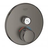 Grohe Grohtherm SmartControl - Thermostat Fertigmontageset 1 Absperrventil hard graphite gebürstet