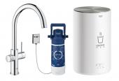 Grohe Red - Einhand-Küchenarmatur DUO mit Boiler M-Size und C-Auslauf chrom 1