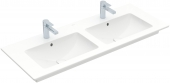 Villeroy & Boch Venticello - Doppio lavabo per mobile 1300x500mm con 2 fori per rubinetti, espandibili a 6 con straripamento bianco con CeramicPlus