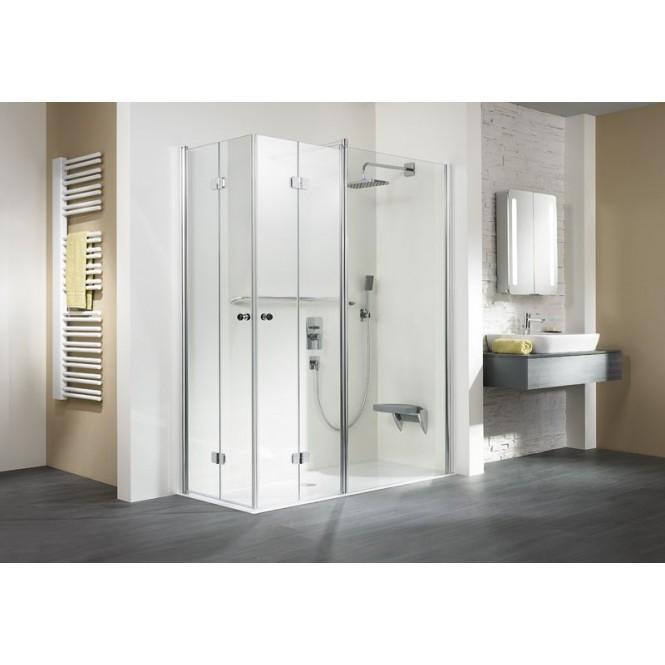 HSK - Corner entry with folding hinged door and fixed element 01 aluminum matt silver custom-made, 100 Glasses art center