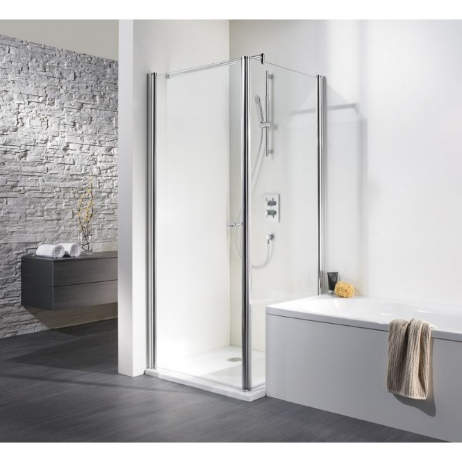 HSK - Swing-away side wall to revolving door, 01 Alu silver matt 750 x 1850 mm, 56 Carré