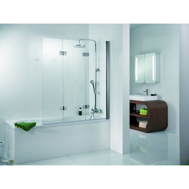 HSK - Bath screen 3-part, 41 chrome-look 1140 x 1400, 50 ESG clear bright