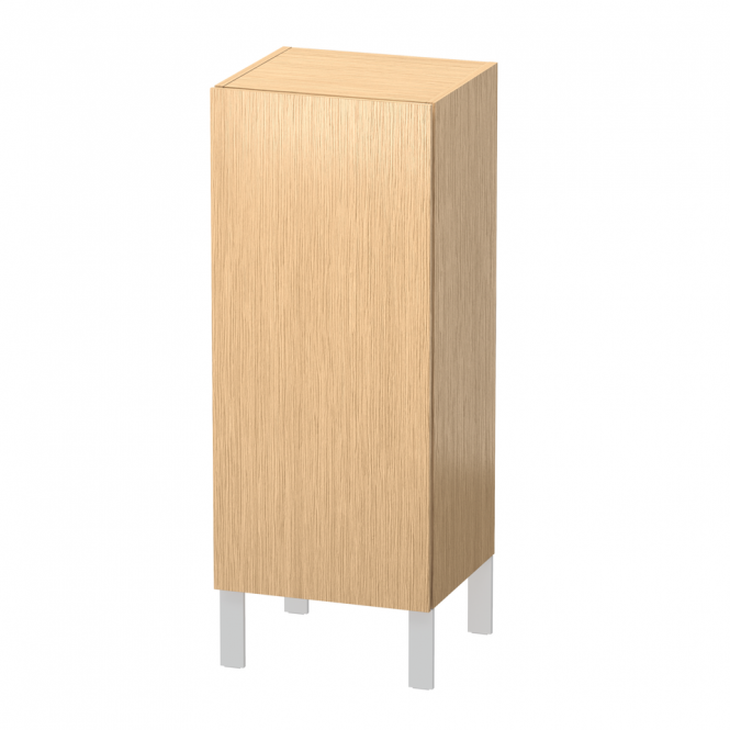 Duravit L-Cube - Semi-tall cabinet 250-500 x 600-900 x 200-363 mm with 1 door & 2 glass shelves & hinges right brushed oak