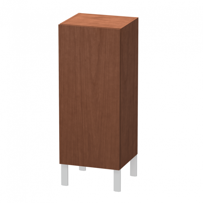 Duravit L-Cube - Semi-tall cabinet 250-500 x 600-900 x 200-363 mm with 1 door & 2 glass shelves & hinges right american walnut