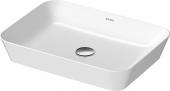 Duravit Cape Cod - Aufsatzbecken 550 mm weiß/weiß seidenmatt ohne Überlauf ohne Hahnloch WonderGliss