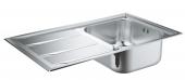Grohe K400+ - Edelstahlspüle mit Abtropffläche 873 x 513 mm Flat Edge