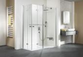 HSK - Corner entry with folding hinged door and fixed element 01 aluminum silver matt 1400/900 x 1850 mm, 100 Glasses art center