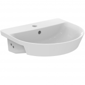 Ideal Standard Connect Air - Halbeinbauwaschtisch 1 Hahnloch mit Überlauf 500 x 450 x 160 mm weiß