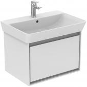 Ideal Standard Connect Air - Waschtisch-Unterschrank 585 x 412 x 400 weiß glänzend / hellgrau matt