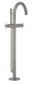 Grohe Atrio - Zweigriff-Wannenbatterie Bodenmontage Fertigmontageset Kreuzgriff supersteel Bild 1