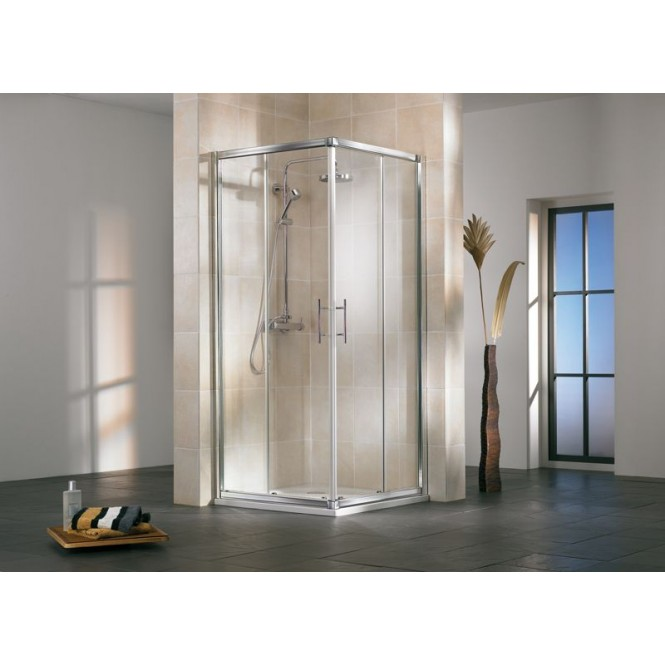 HSK - Corner entry 4-piece, Nova, 50 ESG clear bright 900/750 x 1850 mm, 01 Alu silver matt