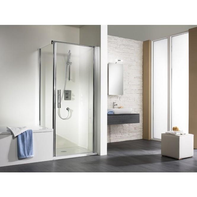 HSK Exklusiv - Sidewall to revolving door, exclusive, 01 aluminum matt silver custom-made, 56 Carré