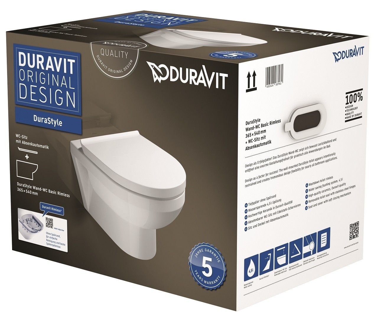 Duravit Durastyle Basic Wall Mounted Washdown Toilet Set