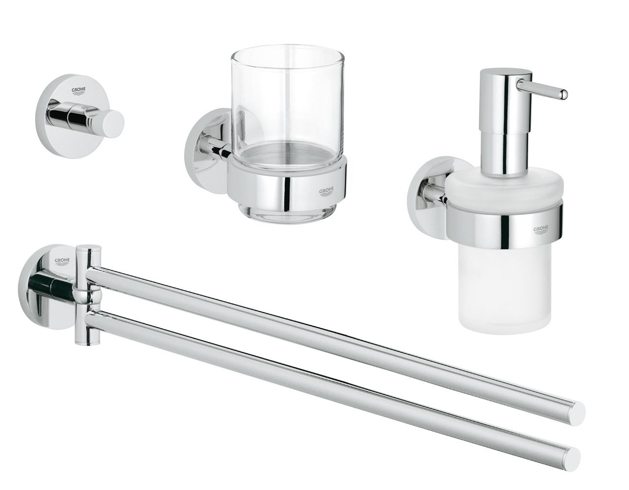 Häufig GROHE Essentials Cube Bathroom set 4 in 1 chrome | xTWOstore AE25