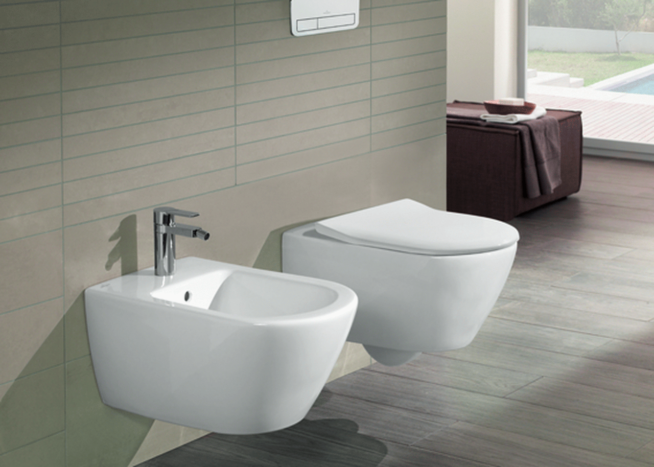 Villeroy boch subway wall mounted washdown toilet set with