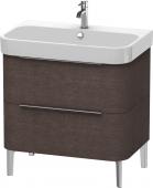 Duravit Happy D.2 - Waschtischunterschrank 775 x 480 mm eiche dunkel gebürstet Masszeichnung