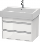 Duravit Ketho - Vanity unit 650 x 480 x 440 mm with 2 drawers white high gloss