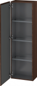 Duravit L-Cube - Semi-tall cabinet 400 x 1320 x 243 mm with 1 door & 3 glass shelves & hinges left burshed walnut