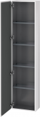Duravit L-Cube - Tall cabinet 400 x 1760 x 243 mm with 1 door & 4 glass shelves & hinges left white high gloss