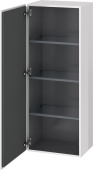 Duravit L-Cube - Semi-tall cabinet 500 x 1320 x 363 mm with 1 door & 3 glass shelves & hinges left white high gloss