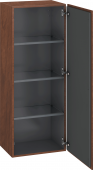 Duravit L-Cube - Semi-tall cabinet 500 x 1320 x 363 mm with 1 door & 3 glass shelves & hinges right american walnut