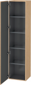 Duravit L-Cube - Tall cabinet 400 x 1760 x 363 mm with 1 door & 4 glass shelves & hinges left brushed oak