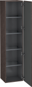Duravit L-Cube - Tall cabinet 400 x 1760 x 363 mm with 1 door & 4 glass shelves & hinges right burshed dark oak