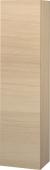 Duravit L-Cube - Semi-tall cabinet 250-500 x 1321-2000 x 200-363 mm with 1 door, 1 wooden shelf, 3 glass shelves & hinges left mediterranean oak