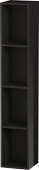 Duravit L-Cube - Shelf element vertical 180 x 1000 x 180 mm with 4 compartments black high gloss