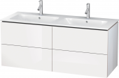 Duravit L-Cube - Vanity unit 1290 x 550 x 481 mm with 4 drawers white high gloss