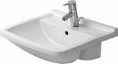 DURAVIT Starck 3 - Semi-recessed Washbasin for Furniture 550x460mm with 1 tap hole with overflow white with WonderGliss
