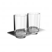 Emco Art - Doppelglashalter chrom Glasteil säuremattiert