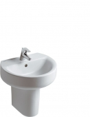 Ideal Standard Connect - Washbasin 500x420mm with 1 tap hole with overflow white with IdealPlus