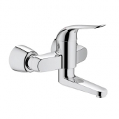 GROHE Euroeco Special - Single Lever Basin Mixer wall-mounted with projection 214 mm without waste set chrome