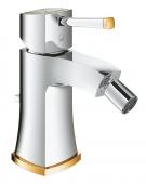 Grohe Grandera - Einhand-Bidetarmatur mit Ablaufgarnitur chrom / gold