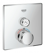 Grohe Grohtherm SmartControl - Thermostat eckig ein Absperrventil chrom