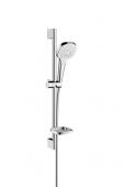 Hansgrohe Croma Select E - Brausenset Vario / Unica 650 mm weiß / chrom mit Seifenschale
